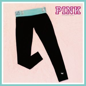 VS Pink Bling Sequin Black Aqua Yoga Tights Pants